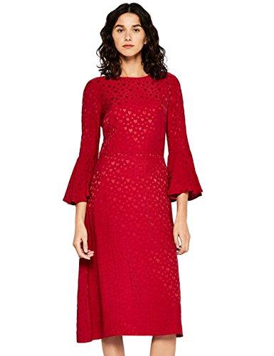 FIND Vestido Midi Satinado Mujer, Rojo (Red), 42 (Talla del fabricante: Large)