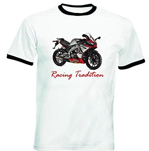 TEESANDENGINES Men's APRILIA SONIC GP 50 INSPIRED RACING Black Ringer T-shirt Size XXLarge Sonic Ringer