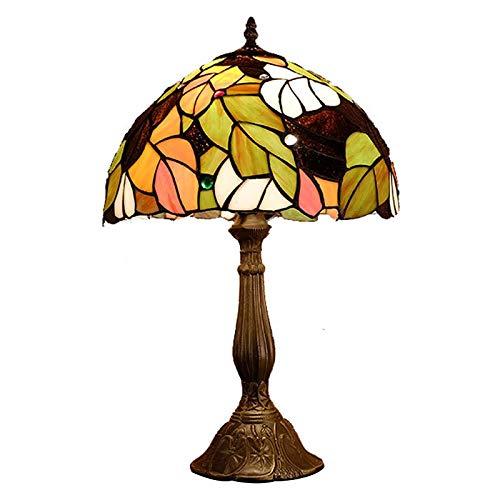 QCKDQ 12 Zoll Schreibtisch Licht, Tiffany Stil Tischlampe Mit Blättern Und Online Schalter Glasmalerei, Schlafzimmer Nachttisch Schreibtisch Kleine Tischleuchte Dekorative E27