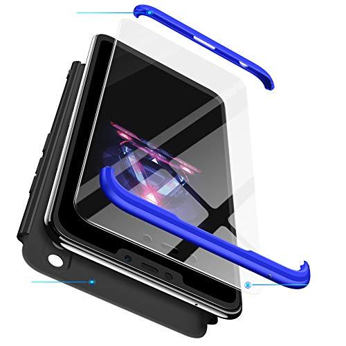 Hülle Huawei Honor 8X 2018,kompatibel Huawei Honor 8X Hülle 360 Grad Rundumschutz 3in1 Ultradünn Handyhülle Schwarz Blau Schutzhülle Fullbody Case Stoßfest Silikon Bumper Rückschale+3D Panzerglas