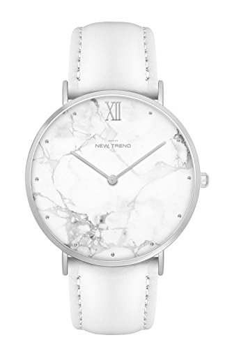 New Trend Unisex Armbanduhr Damen-Uhr Herren-Uhr, Analog Display, Quarzwerk, Nato-Armband, Leder-Armband, Chronograph-Optik, mit Dornschließe, Marmor-Muster