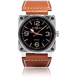 Bell and Ross Aviation Gold Heritage BR0392-GOLD-HER - Reloj de pulsera para hombre (esfera de color negro)