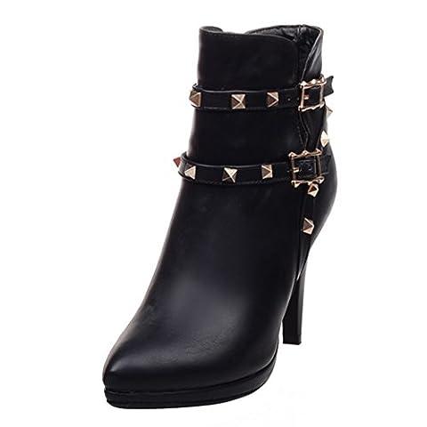 UH Damen Spitze Stiefeletten Plateau Stiletto High Heels Boots mit Nieten und Schnalle Elegante Warm Schue