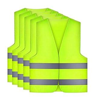 Etmury Chalecos de Seguridad, Paquete de 5 Chalecos Lavables 360 Grados Reflectantes para Hombres y Mujeres Jogging al Aire Libre, Ciclismo, Caminar, Andar en Motocicleta y Correr (Amarillo)