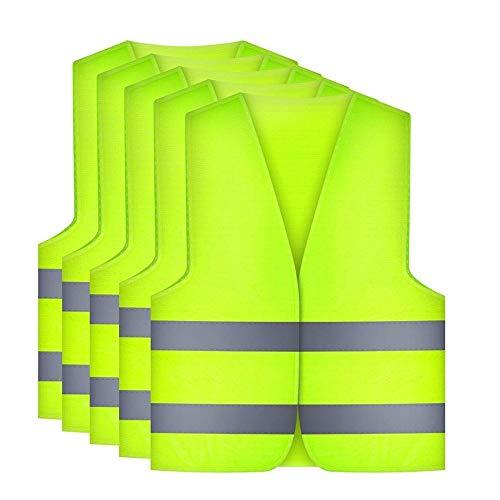 Etmury Warnwesten Auto[5 Set], Warnweste 360 Grad Reflektierende Sicherheitsweste für Autofahrern Fahrern Arbeitskräften Standardgröße -