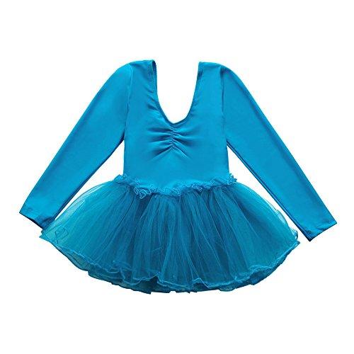 Lazzboy 2019 Kleinkind Mädchen Gaze Trikot Tops Bodysuit Dancewear Kleid Kleidung Mädchen Outfits(X-Large,Blau)