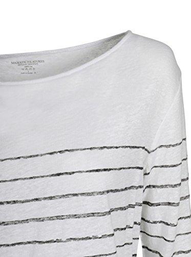Majestic Damen Shirt Aus Leinen mit Streifen Weiss 843 blanc / noir