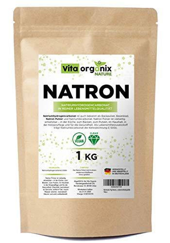 Natron Pulver Backing Soda 1kg I Deutsche Herstellung u. Abfüllung I Hochreine Lebensmittelqualität I Natronpulver im recyclefähigen Beutel