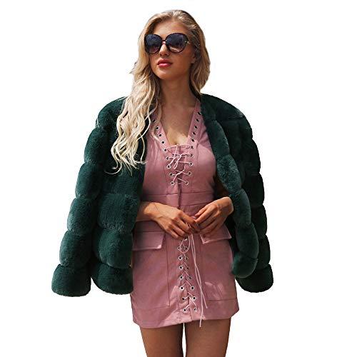 Damen Mantel MYMYG Winter Elegant Warm Faux Fur Kunstfell Jacke Kurz Mantel Coat Warm Winterjacke Kurz Felljacke(Grün,EU:38/CN-L) -