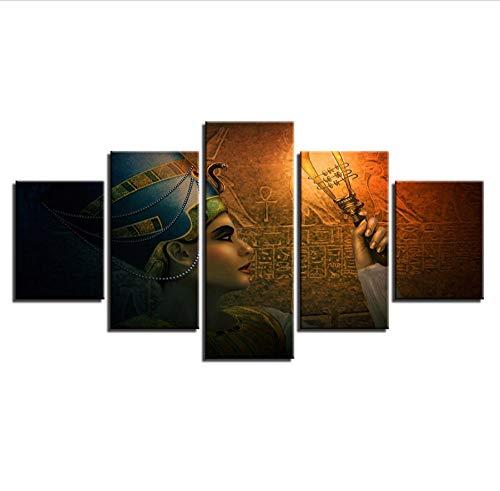 CJFHBVUQ Arte De La Pared Poster Decoración del Hogar Moderno Lienzo 5 Panel Diosa Egipcia Antigua Epic HD Impresión Cuadro De La Pintura Marco De Imágenes 80X150Cm