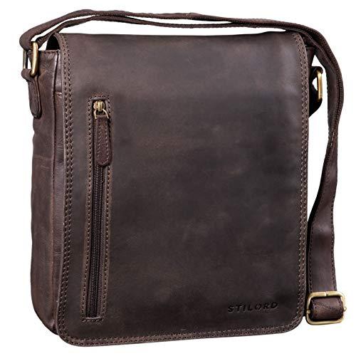 Stilord 'will' classica messenger uomo in pelle borsello vintage borsa tracolla uomo piccola cuoio sottile per tablet, colore:marrone scuro - pallido