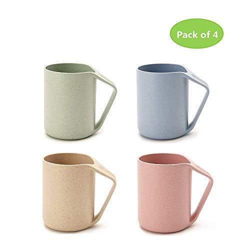 Shenlu Taza multicolor ecológica Trigo paja Biodegradable Taza irrompible con asa para agua Café Jugo de leche Té Tazas de enjuague, juego de 4