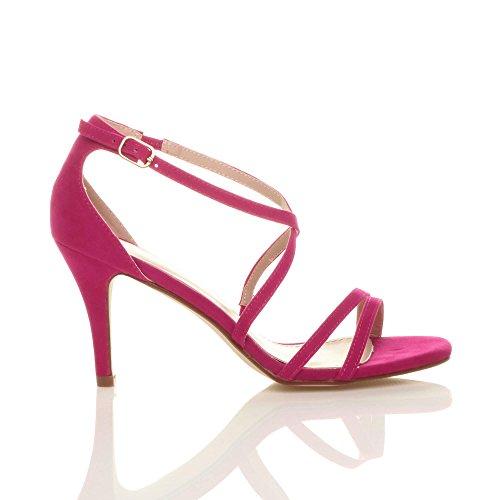 Femmes talon moyen haut lanières croisé mariage bal sandales chaussures taille Fushia Rose Daim