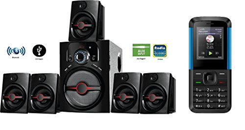 IKALL IK-444 5.1 Channel Bluetooth Home Theater System with K5310 1.8-inch Basic Mobile Phone (Black/Blue)