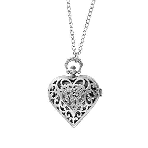 Cadena Suéter de Reloj Bolsillo Antiguo Pendiente Corazón Amor para