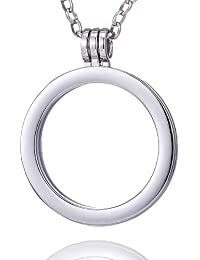 Morella Damen Halskette 70 cm Edelstahl mit Anhänger Träger für Coins 33 mm in Schmuckbeutel