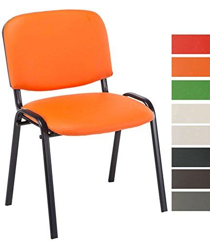 CLP Besucherstuhl Ken mit hochwertiger Polsterung und Kunstlederbezug I Stapelstuhl mit robustem Metallgestell und gepolsterter Rückenlehne Orange
