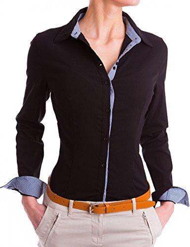 Damen elegante Hemden tailliert Figurbetonte langarm Blusen Business ( 531 ), Farbe:Schwarz, Größe:Large