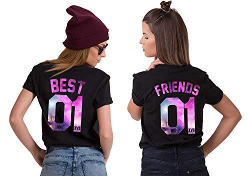 Best Friends Shirts BFF t-Shirt für 2 MädchenSister T-Shirts Bester Freund t Shirt Freundschaft Partner Look BFF Tops Tops Geschenk Sommer Bluse Oberteile 2 Stücke(Schwarz,Best-M+Friends-S)