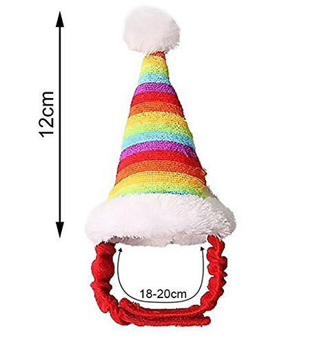 (SUxian Weihnachtshaustier-Hut, Weihnachtskleintier-Regenbogen-Weihnachtshut für Haustier-syrischen Hamster-Eichhörnchen-Kaninchen Chinchilla-Meerschweinchen-Kostüm)