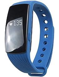 Befaith Bluetooth Smart Pulsera ID107HR Smartband Monitor de ritmo cardíaco Wristband Fitness Tracker para Android iOS azul 40.9 * 20.0 * 12.5mm