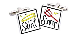 Sonia Spencer England Bone China Square Silver Plated Back Hand Decorated Saint Sinner Cufflink