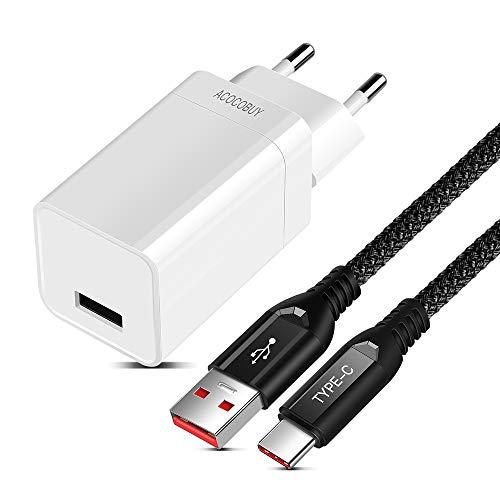 ACOCOBUY Dash Ladegerät für Oneplus 6T/6/5T/5/3T/3, Oneplus Ladegerät Adapter 5V 4A mit Dash USB Typ C Kabel 2M/6.6FT Typ-C Dash Ladekabel Schnelles Ladekabel für Oneplus, VOOC Lade für Oppo Find X. -