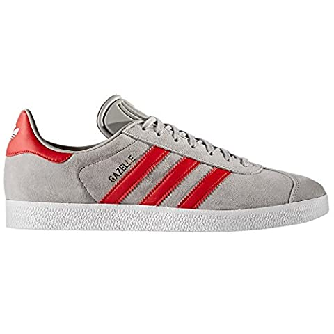 Adidas Original Gazelle Nobuk Sneaker Unisexe (44 EU, Grey/Scarlet)