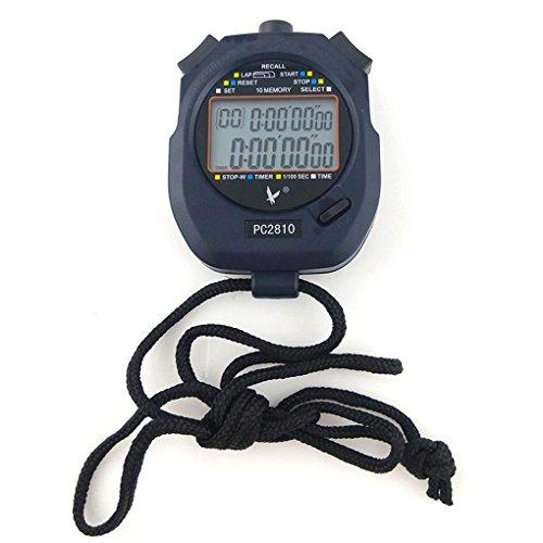JZK® Cronómetro deportivo digital profesional, 2 filas 10 memoria, a