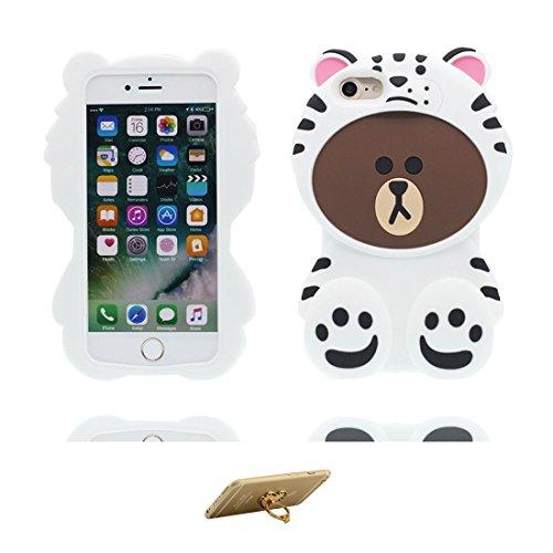 """iPhone 7 Plus Hülle, TPU materielles flexibles, Case iPhone 7 Plus Handyhülle iPhone 7 Plus Cover 5.5"""", [Schock-Beweis] [Ziemlich weich Kunststoff] Ring Ständer- Cartoon Bär Honey 3D Weiß"""