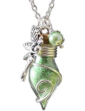 Glücksbringer Phiole der Lichtfee grün nachtleuchtend Damen Mädchen Frauen Kettenanhänger an Kette Talisman Glasfläschchen...