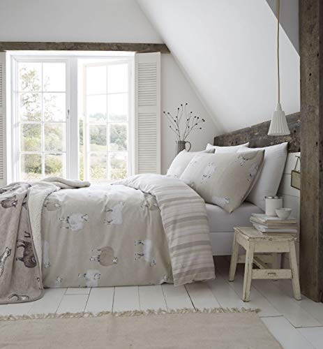 Catherine Lansfield Brushed Cotton Sheep Single Duvet Set Natural Best Price and Cheapest