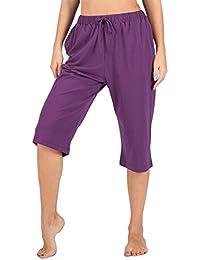 563d90ad145080 WEWINK CUKOO Damen Pyjamahose Schlafanzughose Baumwolle Nachtwäsche  Schlafanzug Kurz geschnittene Sleep Hose mit Taschen