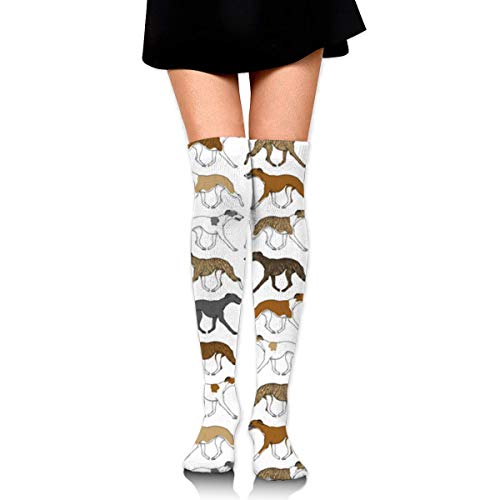 NFHRREEUR Trotting Whippet Border Pattern Womens Knee High -
