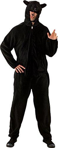 Fasching Kostüm Erwachsene Overall Schaf Beige Oder Schwarz (Herren, Schwarz)