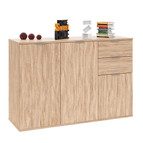 Deuba Kommode Sideboard Alba mit 2 Schubladen & 3 Türen 107 x 74 x 35 cm Anrichte Beistellschrank Holz, Eiche (2 Schublade Aktenschrank Braun)