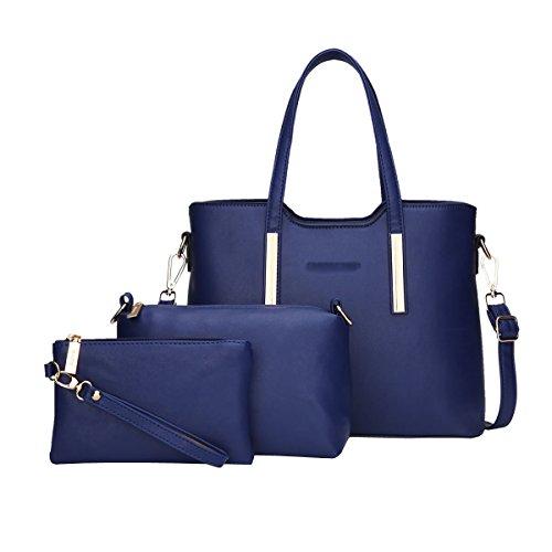 DISSA ES830 neuer Stil PU Leder Deman 2018 Mode Schultertaschen handtaschen Henkeltaschen set,325×125×230(mm) Dunkelblau