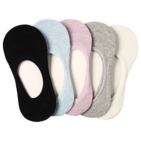 Füßlinge Baumwolle Ballerina Damen Socken 5er ein Pack mehre Farbe rutschfest (Größe 35-39) (Schwarz, beige, hell grau, hell blau, lila)