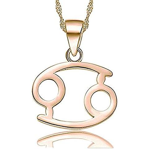 Hacool 925 plata esterlina Chapado en oro rosa 12 horóscopo colgante collar