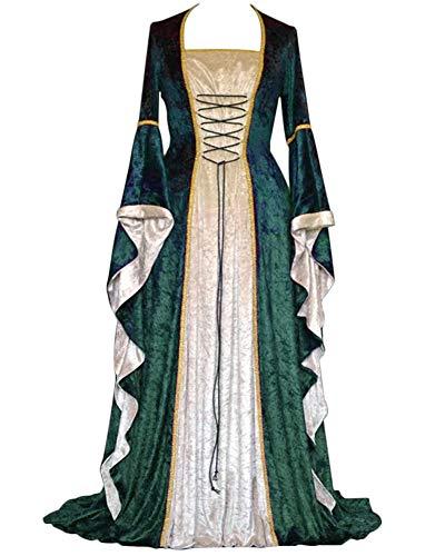 GladiolusA Damen Langarm Renaissance Mittelalter Kleid Viktorianischen Königin Kostüm Maxikleid Grün 2XL (Renaissance Königin Kostüm)