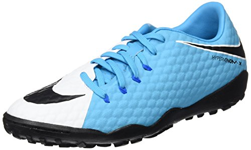 Nike Hypervenomx Phelon TF, Scarpe da Calcio Uomo, Blu (White/Black-Photo Chlorine Blue), 42.5 EU