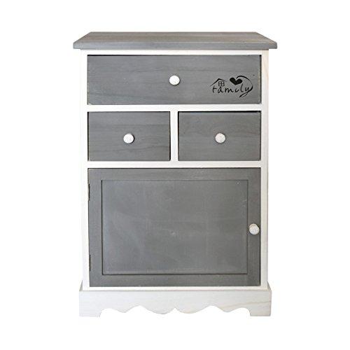 Rebecca srl armadietto cassettiera mobiletto 3 cassetti 1 anta legno grigio bianco shabby vintage camera bagno (cod. re4327)