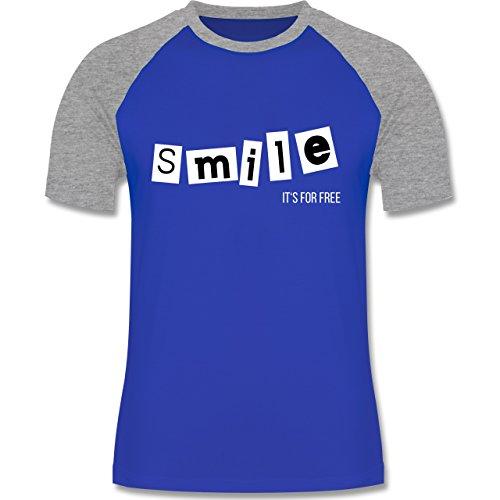 Statement Shirts - Smile it's for free - zweifarbiges Baseballshirt für Männer Royalblau/Grau meliert