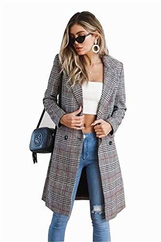 Frauen Mädchen Zweireiher Plaid Trenchcoat Mit Schlitz Damen Mid-Long Long Sleeve Casual Kleider Style Outwear,Gray,S - Trenchcoat Plaid