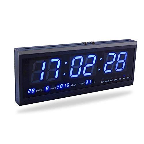 Fdit groß Digital LED Uhr mit Zeit Kalender Datum und Temperatur Anzeige Uhr Schreibtisch für Haus Büro Restaurant Flughafen Bank (rot/blau/grün) socialme-eu blau - Schreibtisch-uhr Temperatur Mit