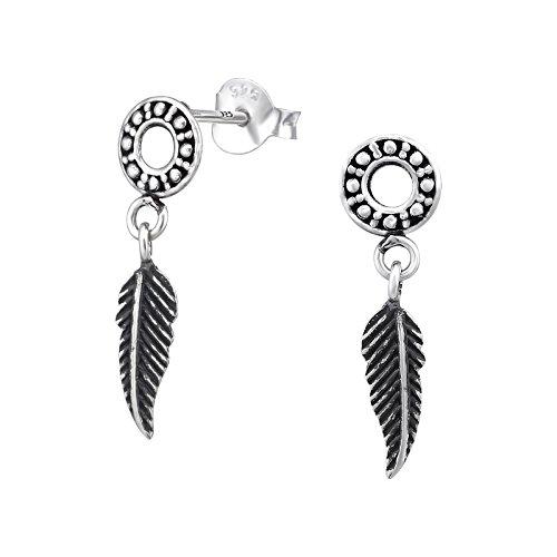 Tata Gisele© Ohrringe Sterling Silber 925/000Antik-Rund Kreis und Feder Hängeleuchte,-Ethnische indischen Navajo (Antike Sterling Silber)