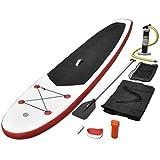 vidaXL SUP Board Set Stand Up Paddle Surfboard Surfbrett aufblasbar Wellenreiter Rot