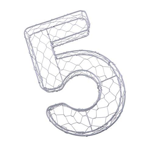 non-brand Sharplace Hängende Rahmen ukkulente Pflanzgefäß Air Pflanze Halter aus Metall, Zahl Form (0-9) - Nummer 5