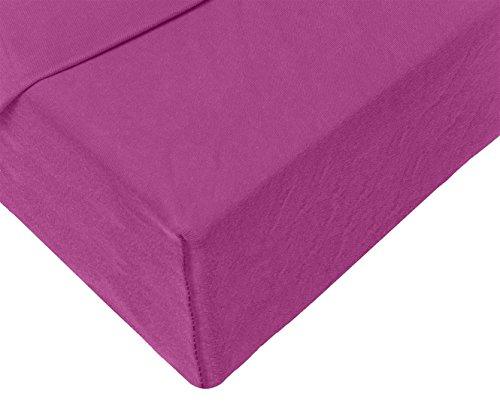 Double Jersey - Spannbettlaken 100% Baumwolle Jersey-Stretch bettlaken, Ultra Weich und Bügelfrei mit bis zu 30cm Stehghöhe, 160x200x30 Aubergine - 4