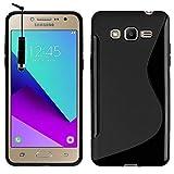 VCOMP Housse Etui Coque Souple Silicone Gel Motif S-Line pour Samsung Galaxy Grand Prime Plus/Grand Prime (2016)/ Galaxy J2 Prime/SM-G532F G532M G532G + Mini Stylet - Noir